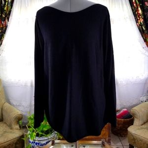 Chico's Black Knit Boat Neck Sweater Sz XL